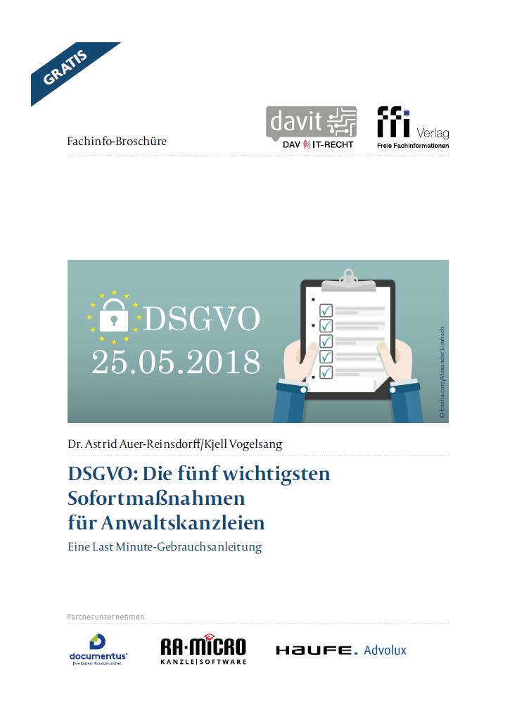 DSGVO Sofortmaßnahmen für Kanzleien